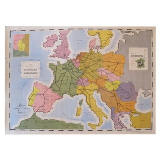 Original French Map of European Railroads, 1949 For Sale