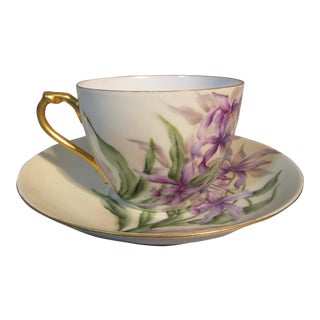 1890s H & Co. Haviland Hand Painted Purple African Lilies Cup & Saucer For Sale