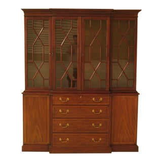 1982 Vintage Henkel Harris Mahogany London Breakfront For Sale