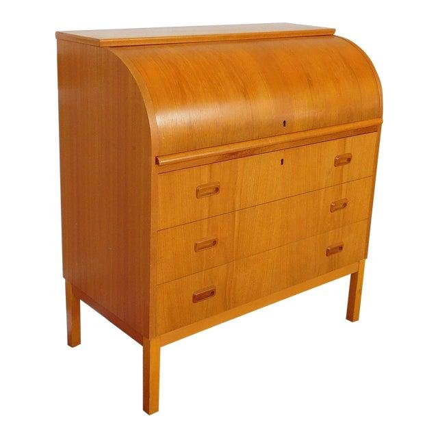 Egon Ostergaard Scandinavian Teak Cylinder Desk For Sale