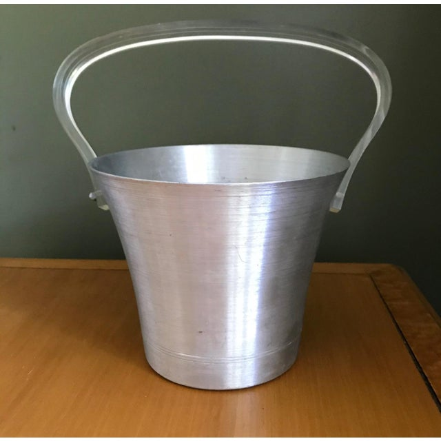 Mid-Century Modern 1970s Hand Turned Aluminum Ice Bucket With Lucite Handle and Matching Glasses - 9 Piece Set For Sale - Image 3 of 9