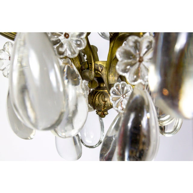 Late 19th Century Bronze Belle Epoch Glass Flower and Smooth Almond Crystal Chandelier For Sale - Image 5 of 11