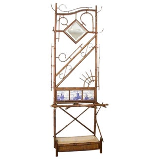 Victorian Bamboo Hall Stand with Delft Tiles Inset For Sale