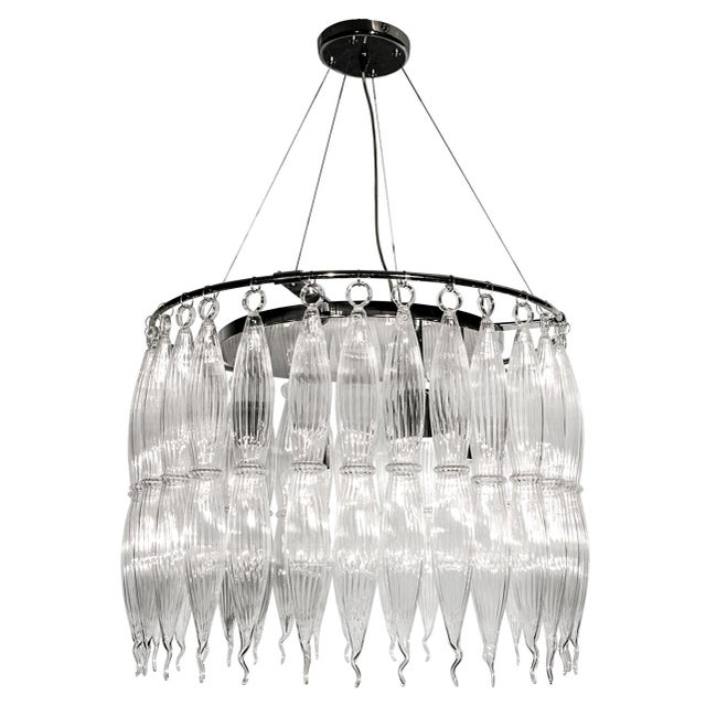 Transparent Tassels Clear Murano Glass Chandelier on a Chrome Base For Sale - Image 8 of 8