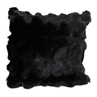 Custom Black Pieced Fox Pillow with Suede and Diamond Pattern Backing For Sale