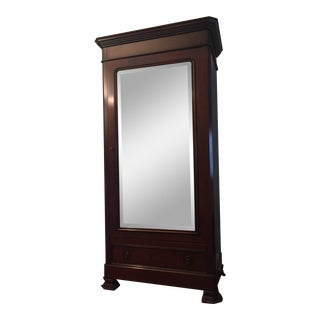 Traditional Grange Cherry Armoire With Beveled Mirror For Sale
