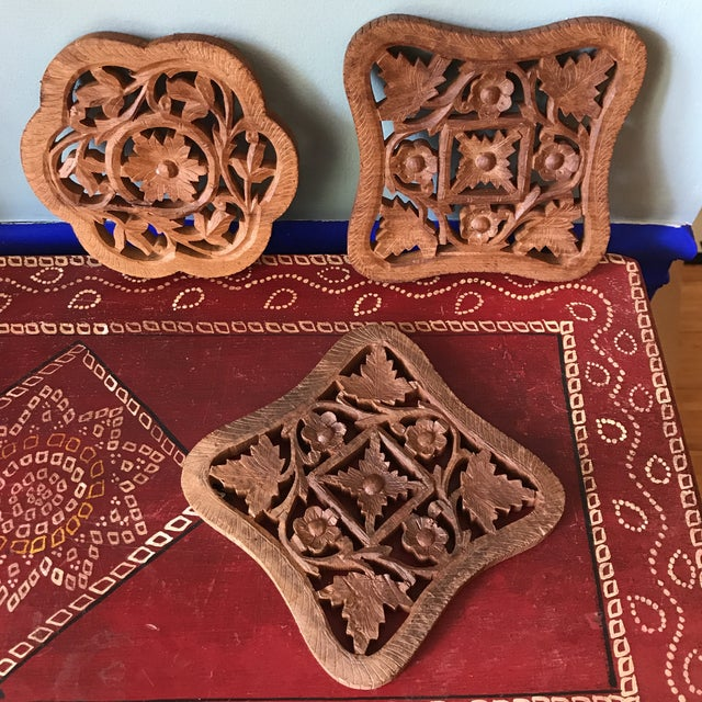 Wood Hand-Carved Trivets - Set of 3 For Sale - Image 7 of 10