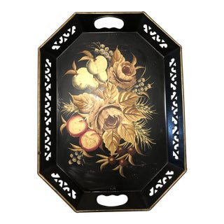 1960s Mid Century Black Hand Painted Metal Tray For Sale