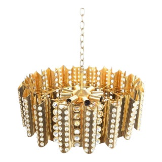 Large Gold-Plated Brass Glass Chandelier Lamp Attributed to Gaetano Sciolari For Sale