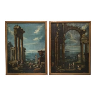 Early 19th C Grand Tour Italian Oil Paintings - a Pair For Sale