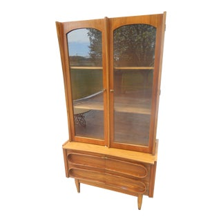 1960s Danish Modern One Piece Credenza/China Cabinet For Sale