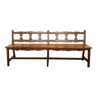 Antique French Country Yew Wood Bench, Circa 1910-1920. For Sale