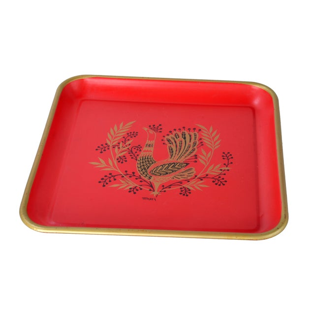 Signed Maxey Vintage 1960s Peacock Tin Tray For Sale - Image 7 of 7