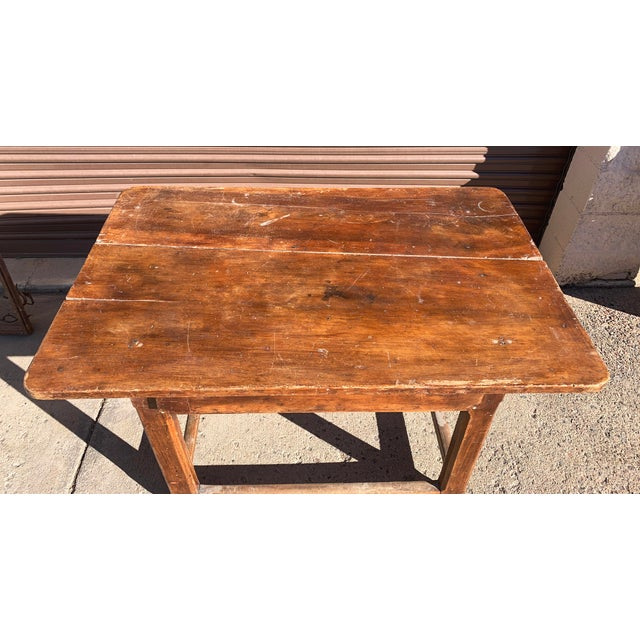 Late 19th Century Rustic French Fruitwood Table With Stretchers For Sale - Image 5 of 13