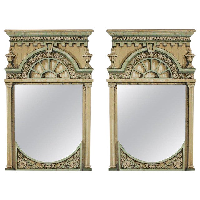 Fornasetti Style Theatrical Hand Painted Prop Mirrors - a Pair For Sale