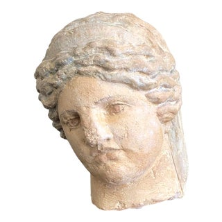 Vintage Neoclassical Plaster Bust on Wood Base For Sale