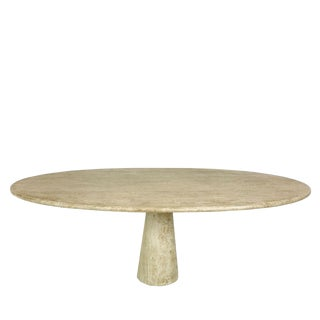 Angelo Mangiarotti Style Travertine Marble Oval Dining Table For Sale