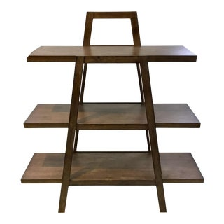 Modern Walnut Finished 3-Tier Wood Shelf For Sale