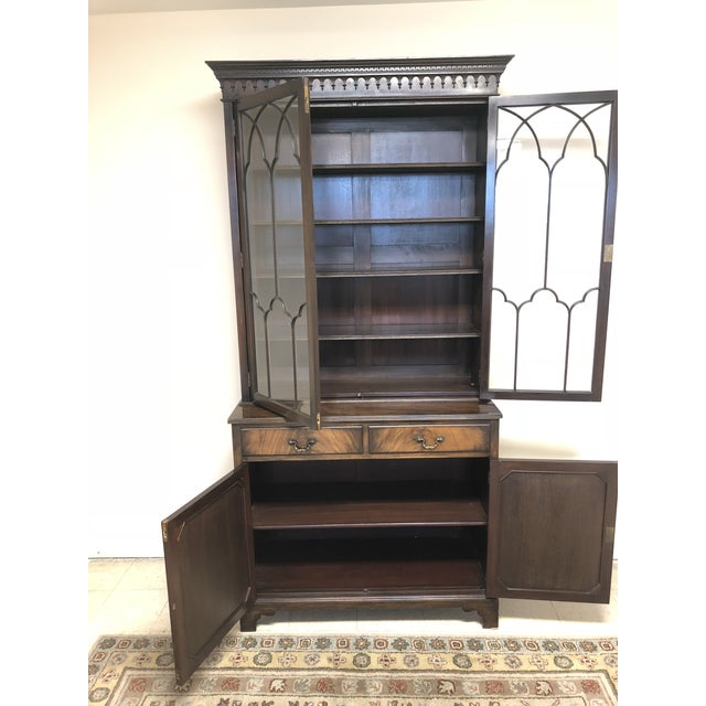 Brown Georgian Stepback Chippendale Bookcase Cabinet For Sale - Image 8 of 12