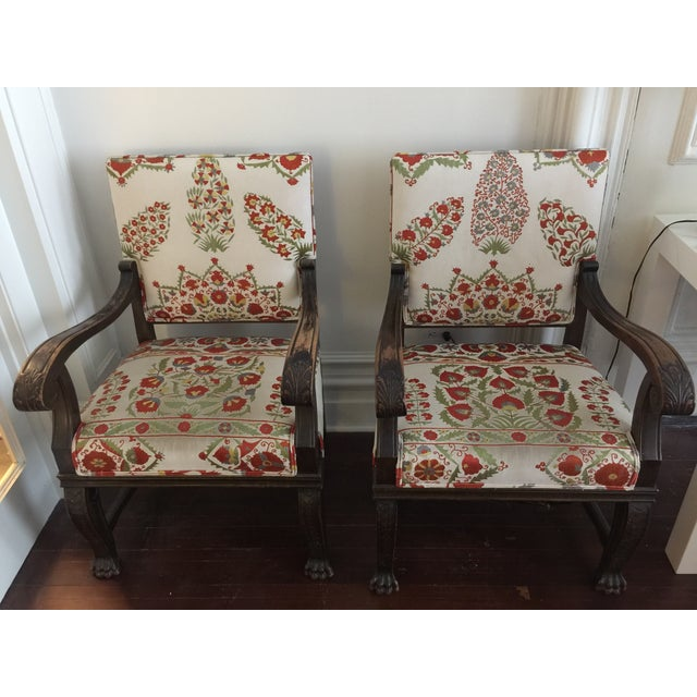 Suzani Upholstered Armchairs - A Pair - Image 2 of 10