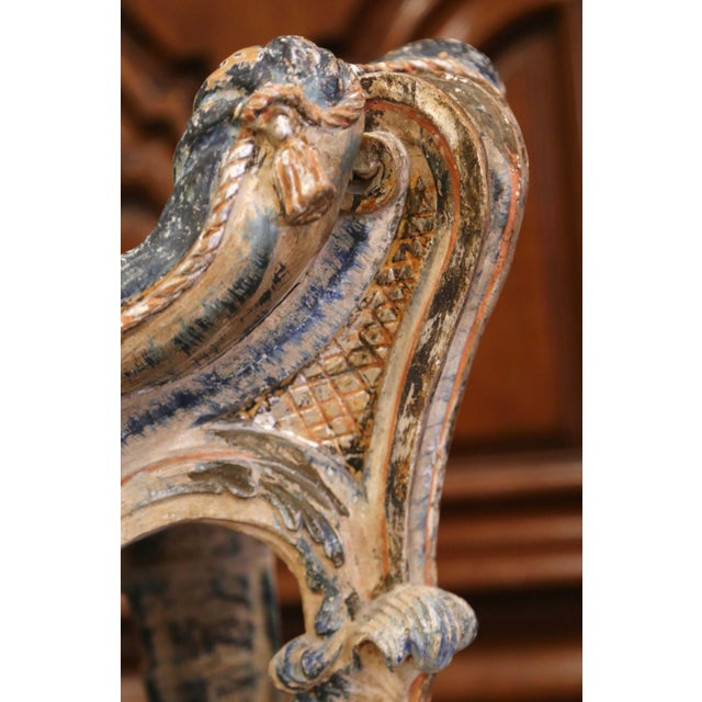Early 20th Century French Carved Painted and Silver Vanity Chair or Piano Stool For Sale - Image 10 of 13