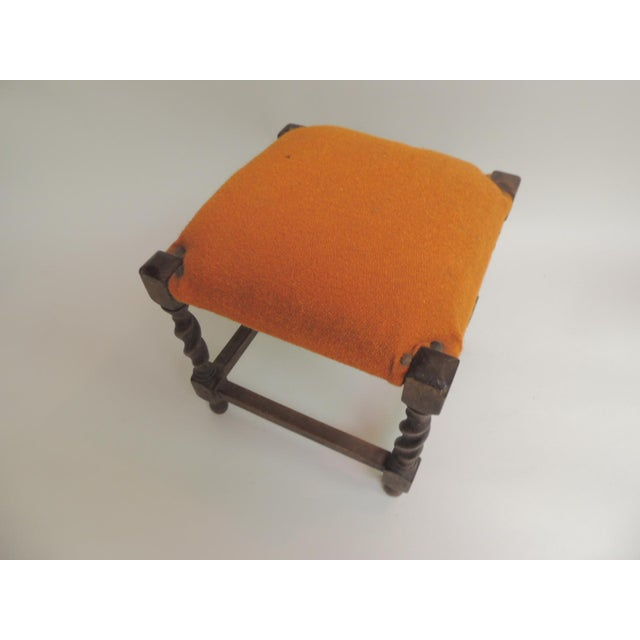 Small Arts & Crafts square vintage milking stool. Orange wool upholstered square stool with turned wood legs and square...