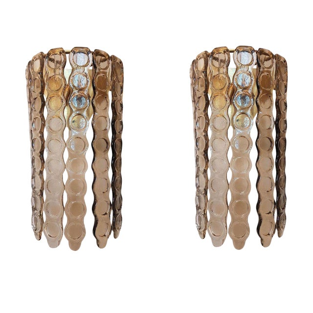 Large Murano Smoked Glass Sconces Mid-Century Modern - a Pair For Sale