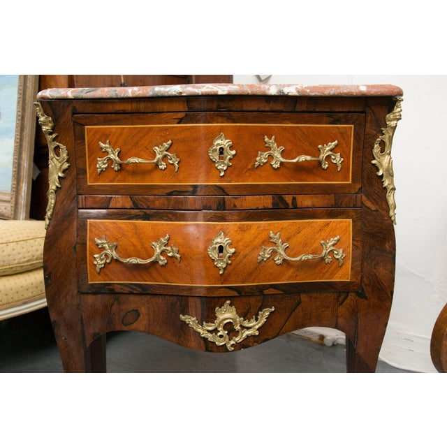 Louis XV Style Two-Drawer Commode With Marble Top, 20th Century For Sale - Image 9 of 10