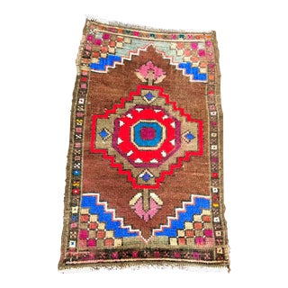 Aztec Turkish Hand Knotted Decorative Small Rug - 1′8″ × 2′8″ For Sale