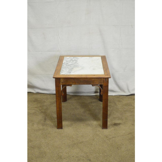 Chippendale Chippendale Style Custom Walnut Marble Top Side Table For Sale - Image 3 of 11