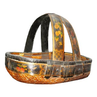 Asian Painted Basket With Handles