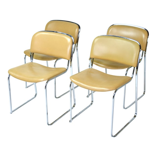 1980s Vintage Stacking Leather and Chrome Chairs by Thema- Set of 4 For Sale