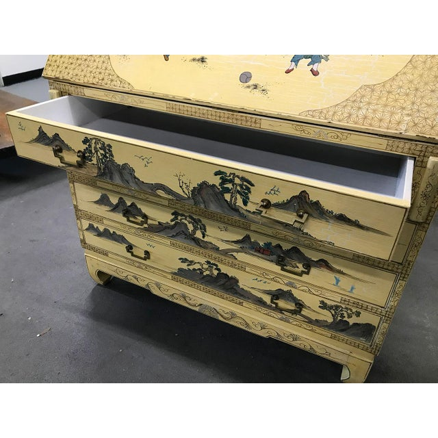 Vintage Chinoiserie Hand-Painted Secretary For Sale - Image 11 of 12