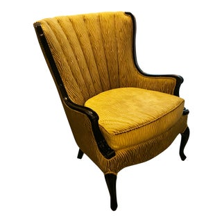 20th Century Hollywood Regency Beige Channel-Backed Armchair