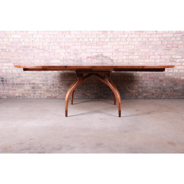 A rare and exceptional mid-century modern spider leg extension dining table By Harold Schwartz for Romweber USA, 1950s...