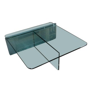 1980s Vintage Glass Coffee Table For Sale