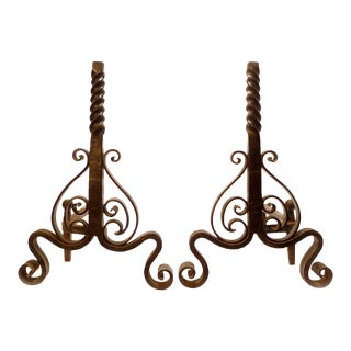 Vintage Black Cast Iron Andirons - A Pair For Sale