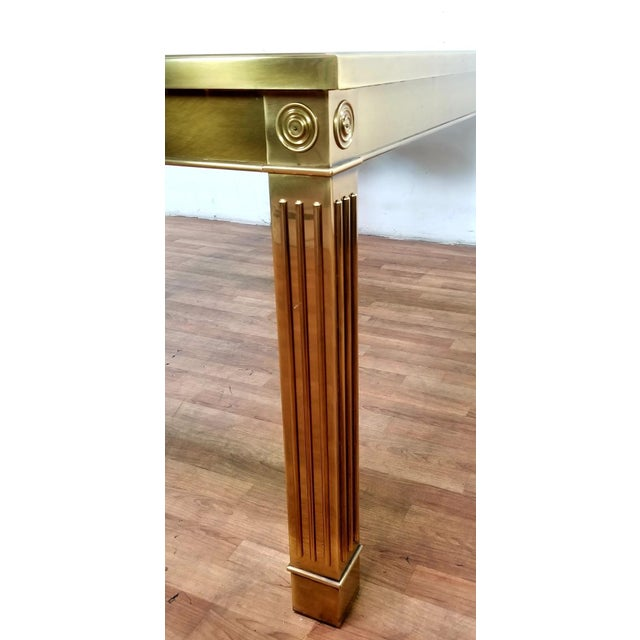 Mid-Century Modern Mastercraft Brass and Beveled Glass Extension Table With Columnar Legs For Sale - Image 9 of 13