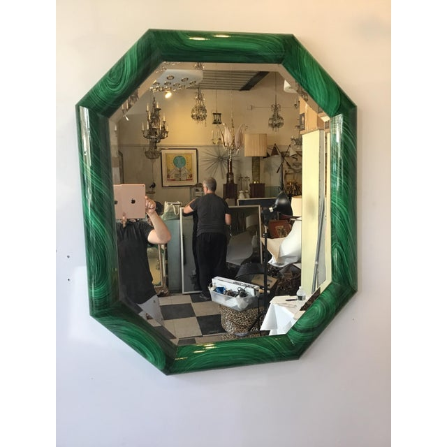 Green Large Pair of Italian 1970s Faux Malachite Beveled Mirrors For Sale - Image 8 of 13