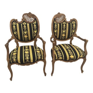 Vintage Medoza Black Gold Versace Velvet Upholstery Chairs - a Pair For Sale
