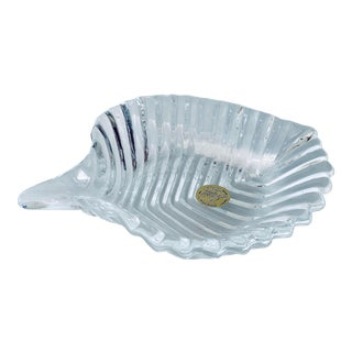 1980's Vintage French 'Cristal D'Arques' Lead Cut Crystal Leaf Dish For Sale