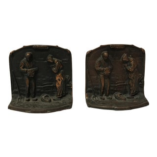 Vintage Cast Bronze Bookends - Millet's Angelus For Sale