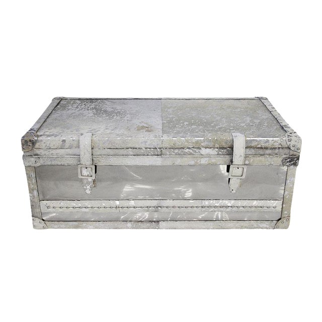 Forest Collection Steel and Cowhide Silver Trunk - Image 1 of 5