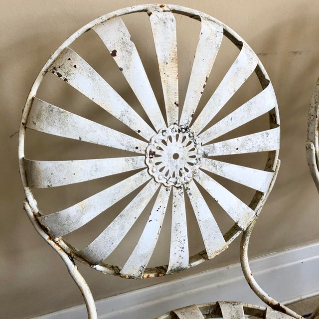 Francois Carre Francois Carre White Iron Sunburst Garden Chairs - a Pair For Sale - Image 4 of 13
