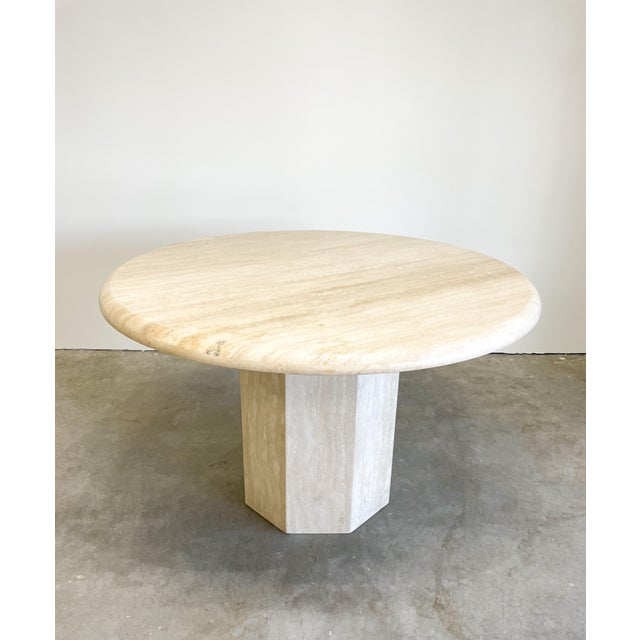 Vintage Postmodern Travertine Marble Round Dining Table For Sale - Image 12 of 12