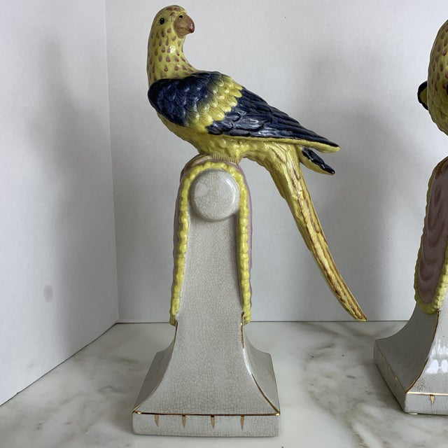 Asian Vintage Extra Large Chinese Parrots on Perches- a Pair For Sale - Image 3 of 13