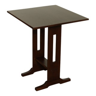 """Stickley Mission Collection Oak 24"""" Square Top Side Table For Sale"""