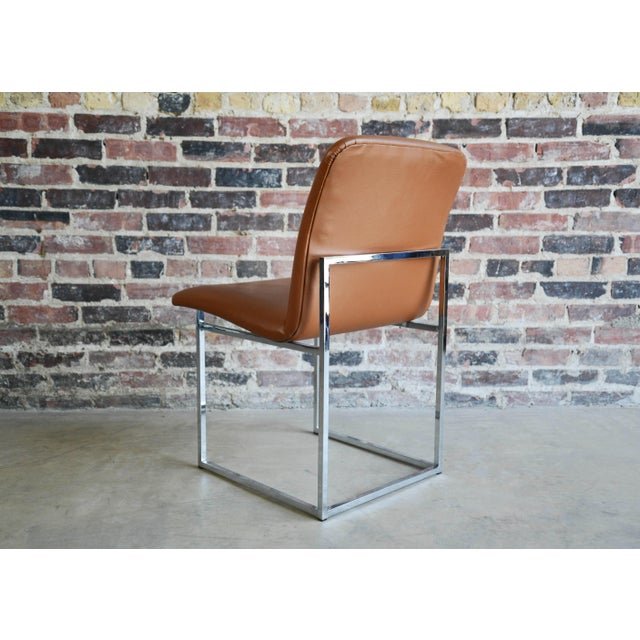 Milo Baughman Vintage Mid-Century Milo Baughman Chrome & Upholstered Side Chairs - A Pair For Sale - Image 4 of 6