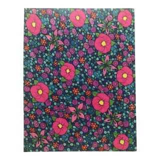 1990s Floral Mod-Patterned Watercolor Painting For Sale