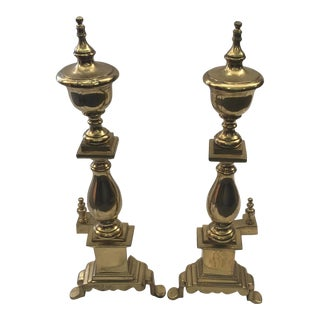 Brass Andirons a Pair For Sale